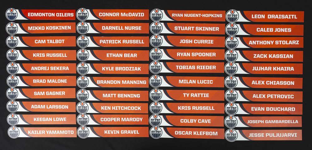 Complete Set of 40 Edmonton Oilers Locker Room Stall Nameplates Used During The Oilers 2018-19 Season For Home Games