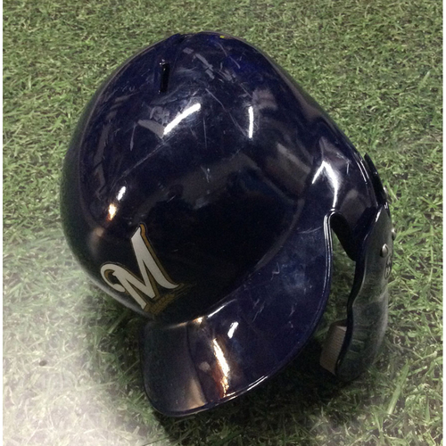 Photo of Freddy Peralta 2018 Postseason Game-Used Batting Helmet - NLCS Game 4