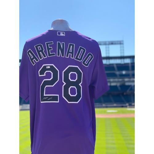 Photo of Colorado Rockies Autographed Purple Jersey: Nolan Arenado - Choose your Size!