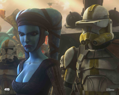 Aayla Secura and Clone Trooper