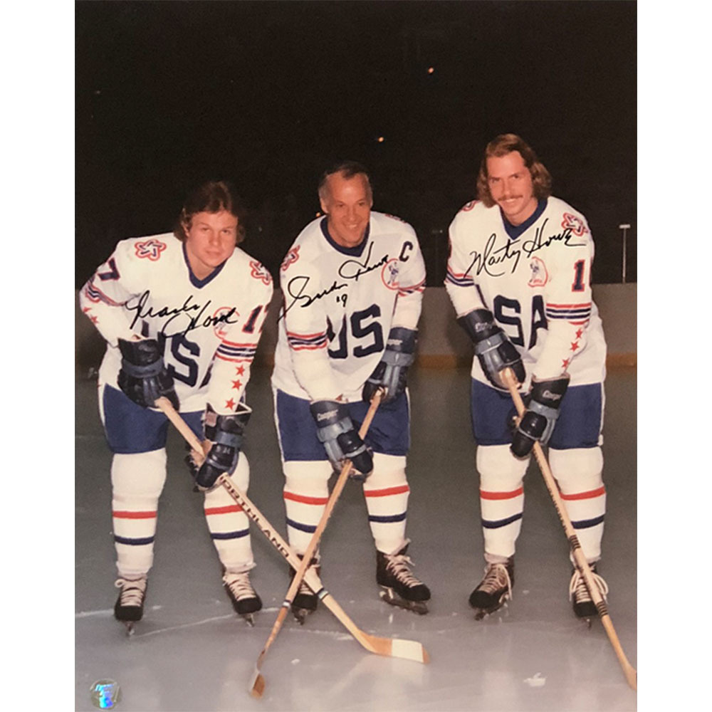 Gordie, Mark & Marty Howe Autographed 1976 WHA All-Star Game 11X14 Photo