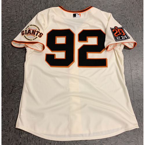 Photo of 2020 Game Used Home Jersey worn by #92 Alyssa Nakken *FIRST FEMALE MLB COACH* on 7/28 Home Opening Day vs. San Diego Padres - 1st Home Game as a San Francisco Giants Coach - 1st Female Coach in MLB History