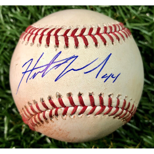 Photo of Rays Baseball Foundation: Game Used Autographed Baseball - Hunter Wood First MLB Win - September 4, 2018 at TOR