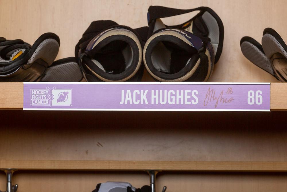 Hughes 2019 Hockey Fights Cancer Locker Room Nameplate