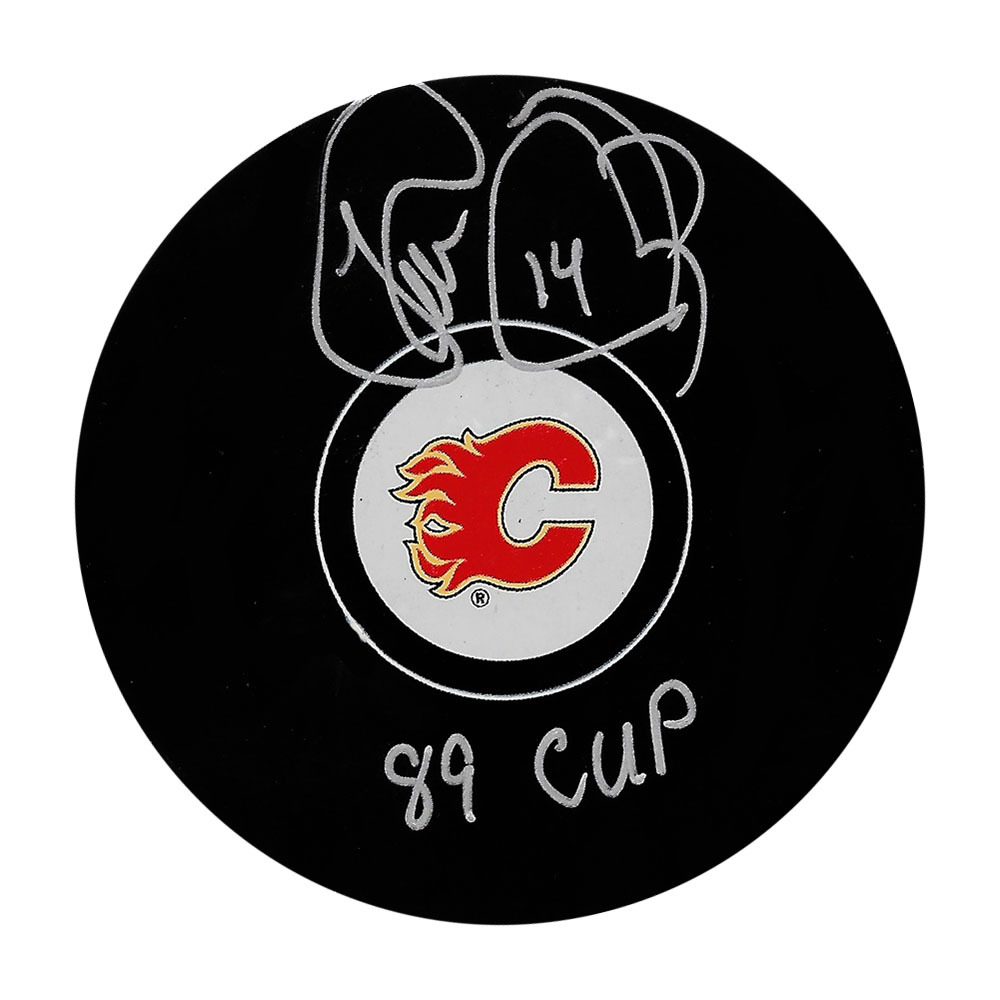 Theo Fleury Autographed Calgary Flames Puck w/89 CUP Inscription