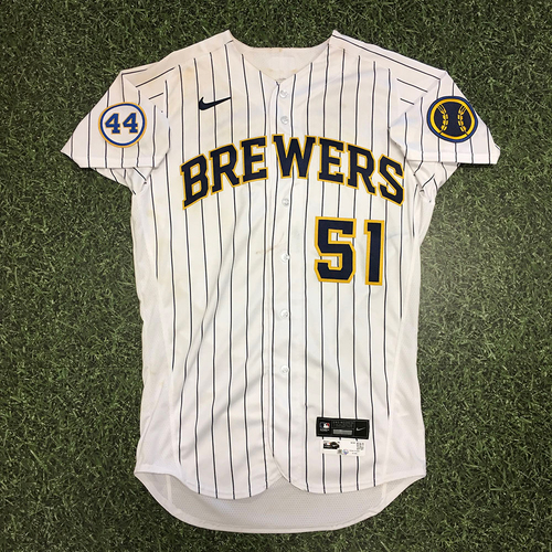 Photo of Freddy Peralta 07/23/21 Game-Used Home Pinstripe Jersey - 4.0 IP, 1 H, 0 R, 2 BB, 5 SO, No Decision