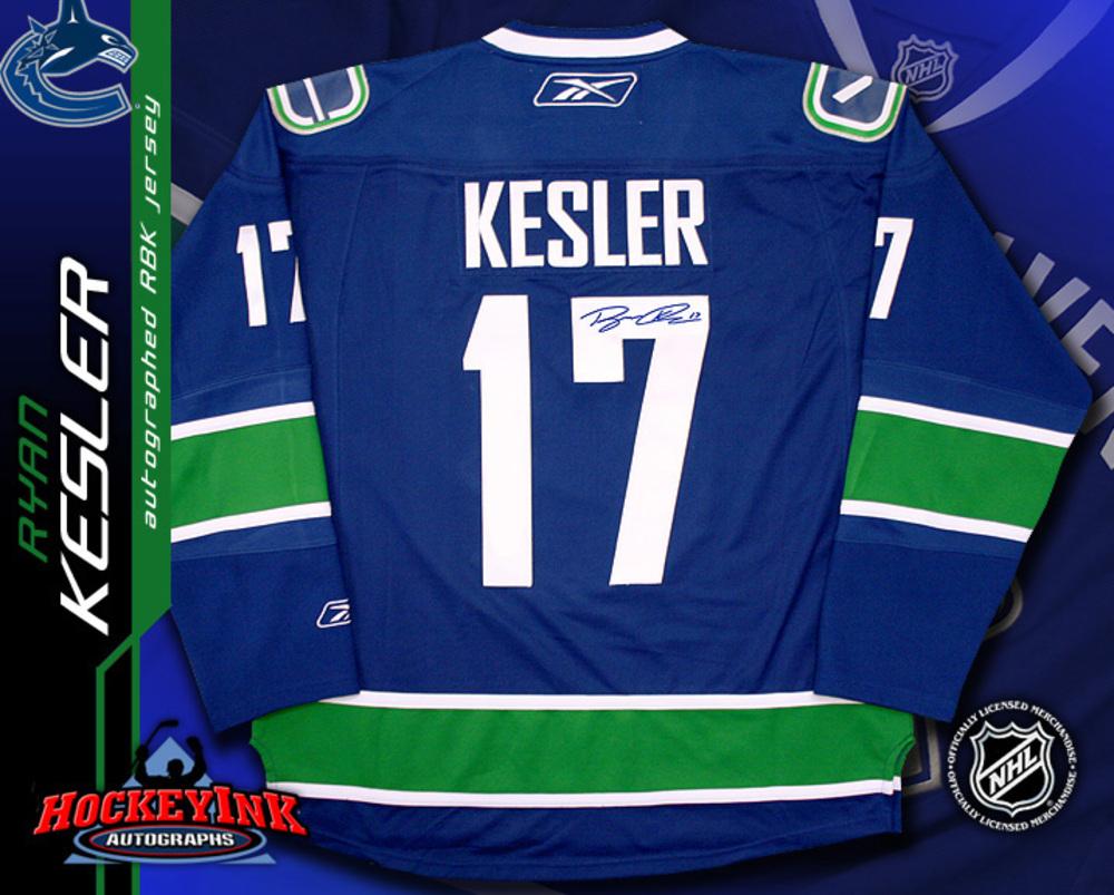 RYAN KESLER Signed Vancouver Canucks RBK Premier Blue Jersey