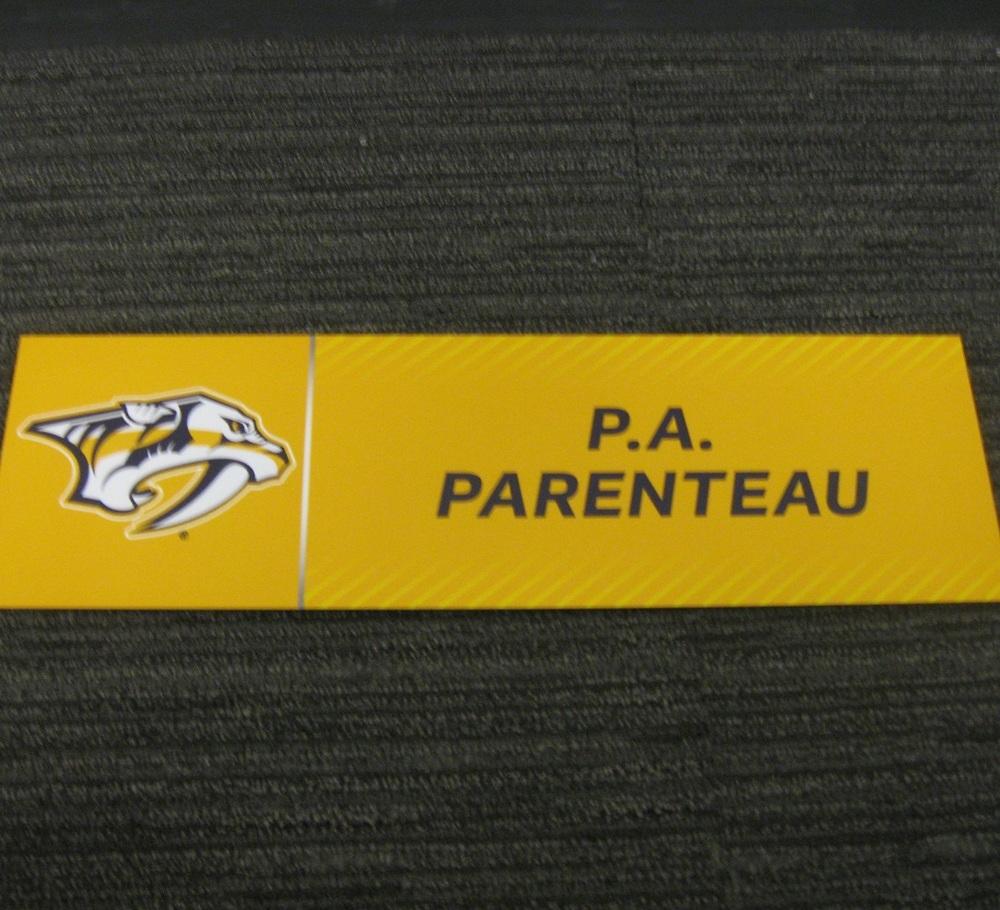 P.A. Parenteau 2017 Stanley Cup Final Media Name Plate - Nashville Predators