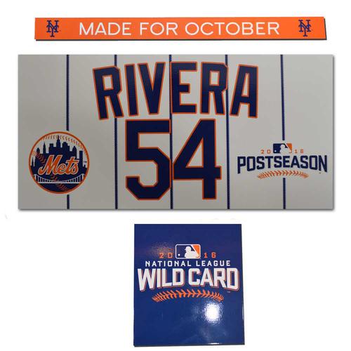 Photo of T.J. Rivera #54 - Game Used Locker Nameplate - 2016 Postseason - 10/5/16