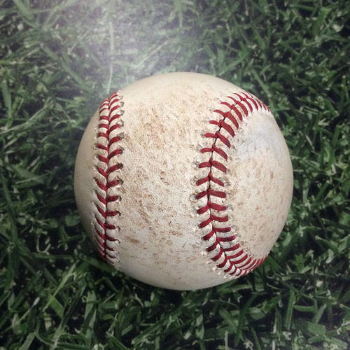 Photo of Game-Used Baseball CHC@MIL 06/11/18 - Junior Guerra - Javier Baez: Single