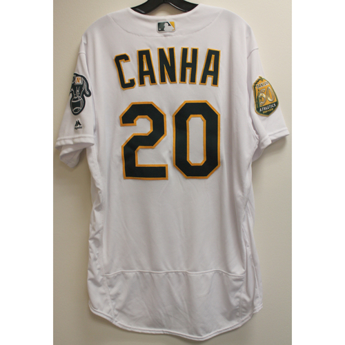 Photo of Mark Canha Game-Used Jersey: No Hitter 4/21/18 vs BOS
