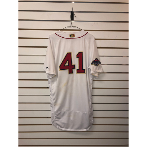Photo of Chris Sale Game-Used April 9, 2019 Home Gold Trimmed Jersey