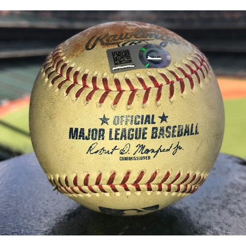 Photo of Game-Used Baseball: 8/2/19 Astros vs Mariners, Wade Miley to Daniel Vogelbach (Line out), Tim Beckham (Strikeout), Kyle Seager (Walk) and Tom Murphy (Foul) - 13 Pitches Total