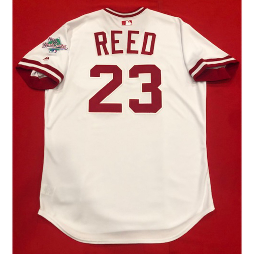 Photo of Cody Reed -- Team Issued 1990 Throwback Jersey -- Cardinals vs. Reds on Aug. 18, 2019 -- Jersey Size 48