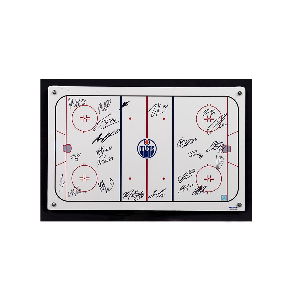 2019-20 Edmonton Oilers Team-Signed Oilers Coaching Staff Used White Board