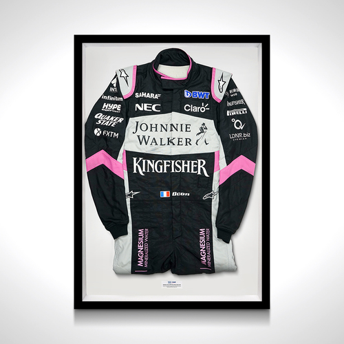 Photo of Esteban Ocon 2017 Framed Race-worn Suit - SportPesa Racing Point F1 Team