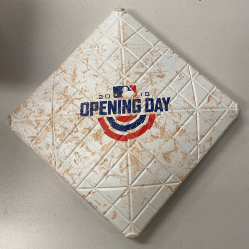 Photo of 2018 Game Used Opening Day Base used on 4/3/18 Home Opening Day vs. SEA - 2nd Base from Innings 4-6