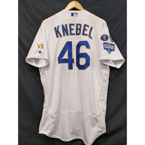 Photo of Corey Knebel Team-Issued Gold Trim Re-Opening Day Jersey - 6/15/21