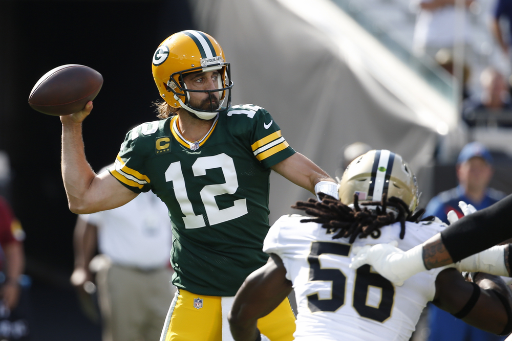 Hurricane Ida Relief - Aaron Rodgers Game Worn Packers 2021 Kickoff Jersey vs Saints 9.12.21