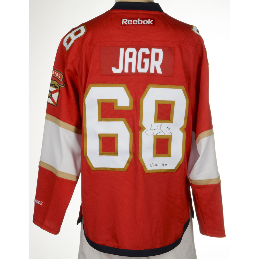 Jaromir Jagr Florida Panthers Autographed Reebok Premier Jersey with Centennial  Patch and NHL 100 Inscription. Auctioned by the National Hockey League ... 6cecce294