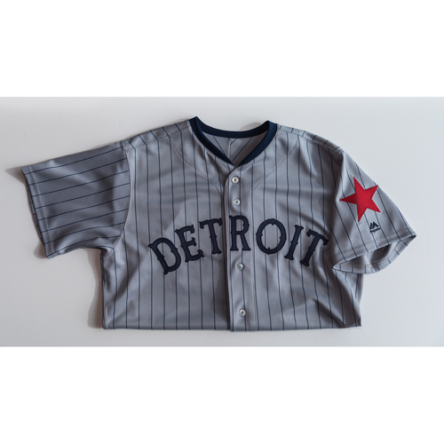 Photo of Game-Used & Autographed Jersey: Joe Jimenez (Size 50 - DET at KC - 5/6/18)