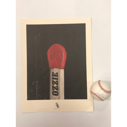 Photo of Ozzie Guillen Artwork (not autographed) and Autographed World Series Baseball