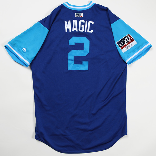 "Photo of Alcides ""Magic"" Escobar Kansas City Royals Game-Used Jersey 2018 Players' Weekend Jersey"