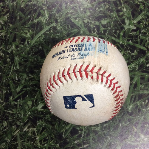 Photo of Game-Used Baseball CHC@MIL 06/13/18 - Jhoulys Chacin - Javier Baez: Foul Ball