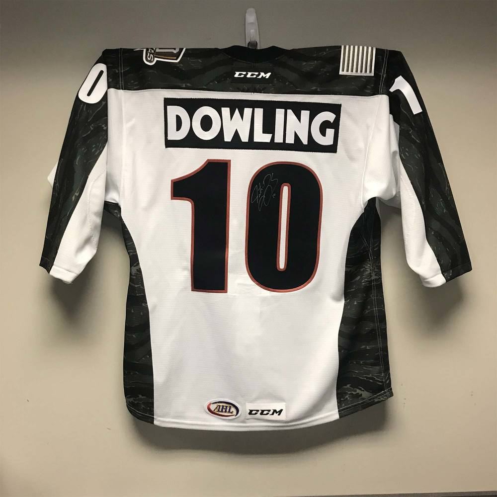 Texas Stars Camo Jersey Issued to and Signed by #10 Justin Dowling