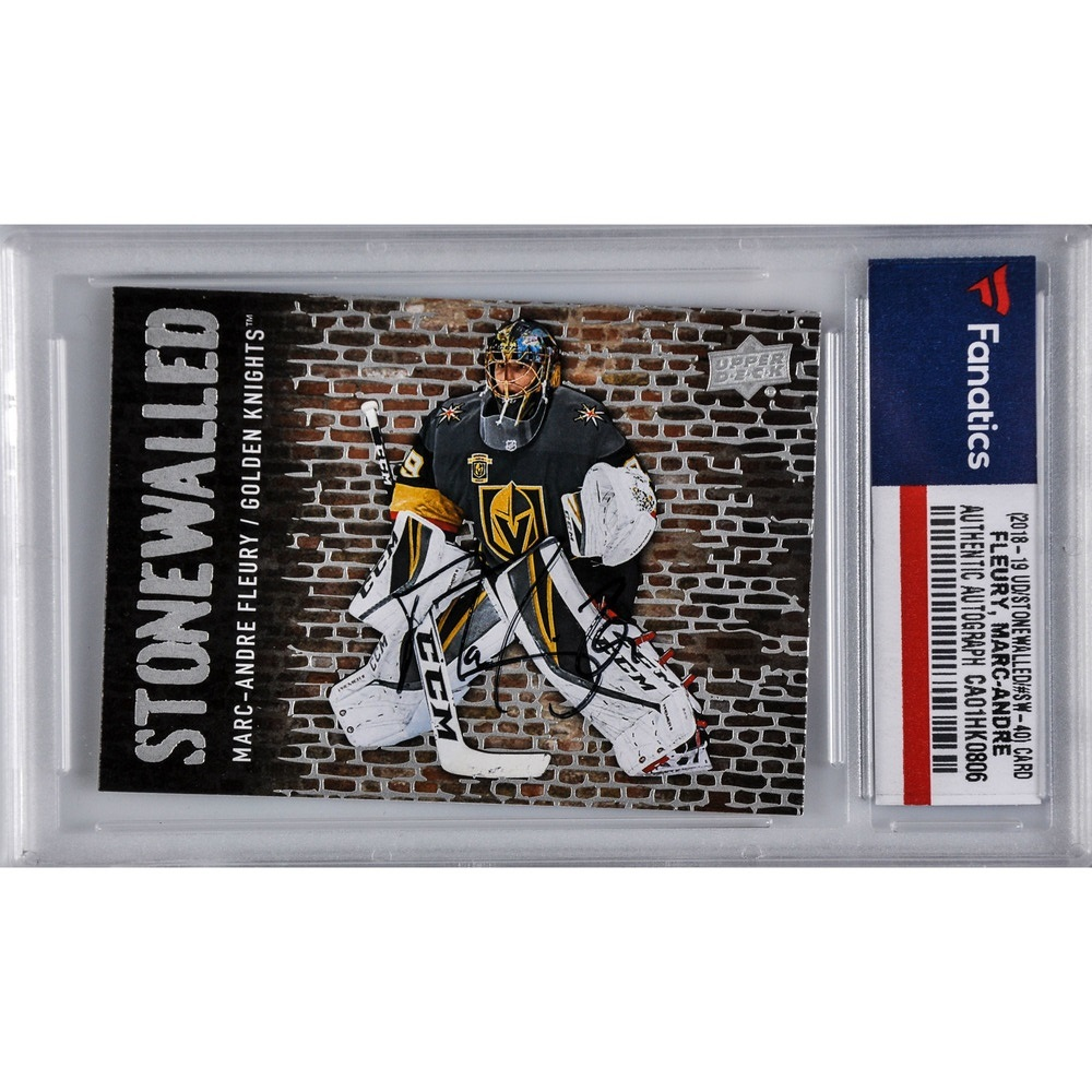 Marc-Andre Fleury Vegas Golden Knights Autographed 2018-19 Upper Deck Series One Hockey Stonewalled #SW-40 Card
