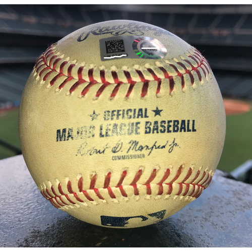Photo of Game-Used Baseball: 8/7/19 Astros vs Rockies, Gerrit Cole to Trevor Story (Strikeout), Daniel Murphy (Pop Out) and Nolan Arenado (Two Swinging Strikes)
