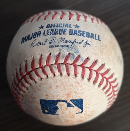 Photo of Authenticated Game Used Baseball: RBI Triple by Austin Meadows against Jacob Waguespack (Jul 26, 19 vs TBR). Top 3.
