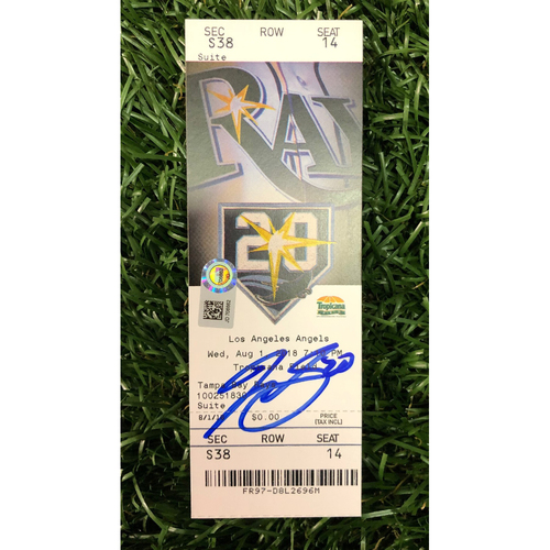 Photo of Autographed Game Ticket: Tyler Glasnow Rays Debut - August 1, 2018 v LAA