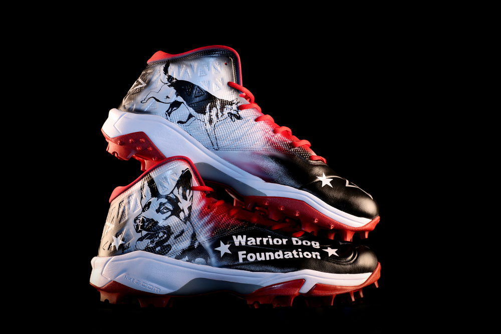 My Cause My Cleats - Patriots David Andrews custom cleats supporting - Warrior Dogs Foundation- Cleats will be autographed