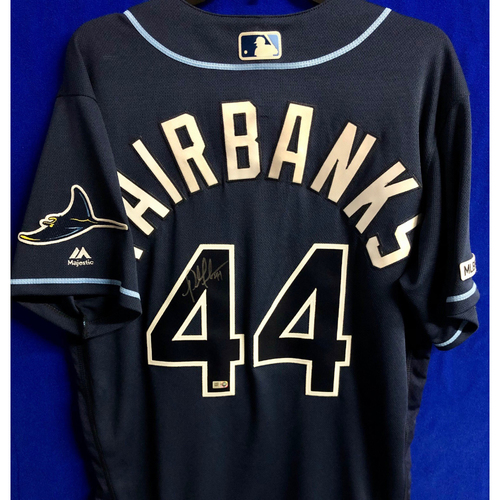 Photo of Autographed Navy Jersey: Pete Fairbanks