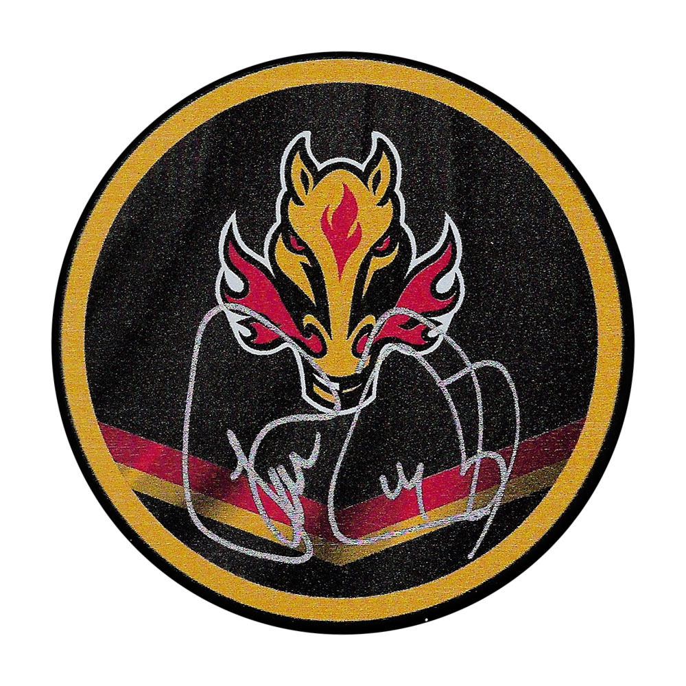 Theo Fleury Autographed Calgary Flames Reverse Retro Puck