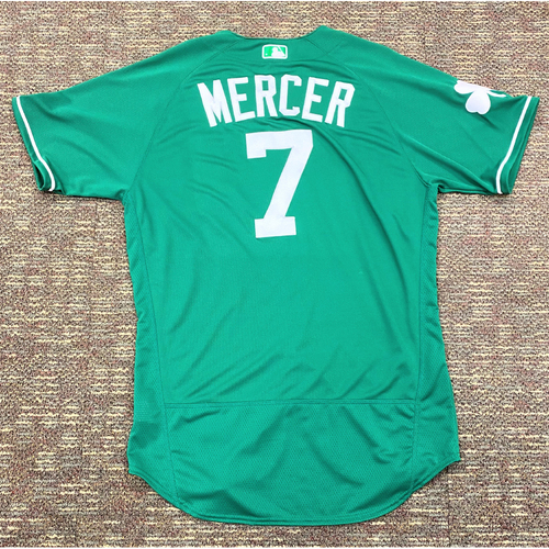 Photo of Jordy Mercer #7 Detroit Tigers Team-Issued 2019 St. Patrick's Day Jersey (MLB AUTHENTICATED)