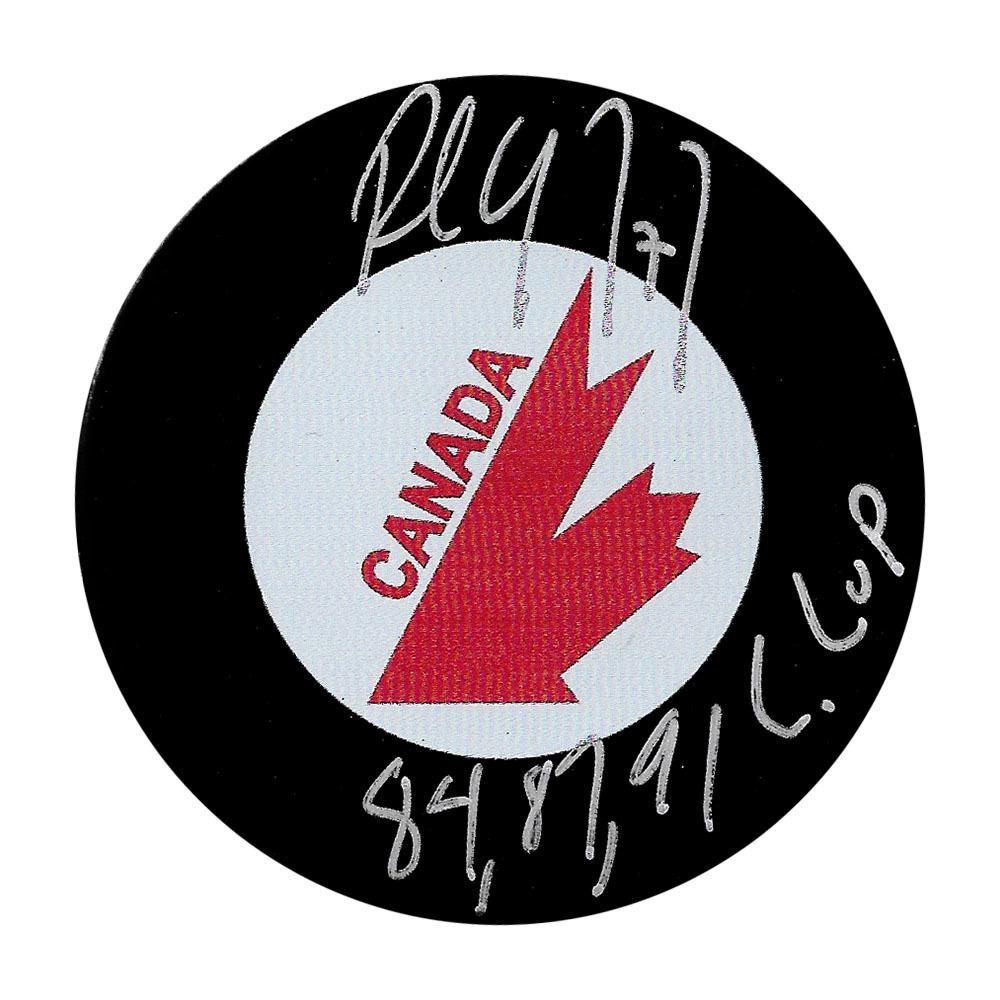 Paul Coffey Autographed Vintage Team Canada Puck w/84-84-91 C CUP Inscription