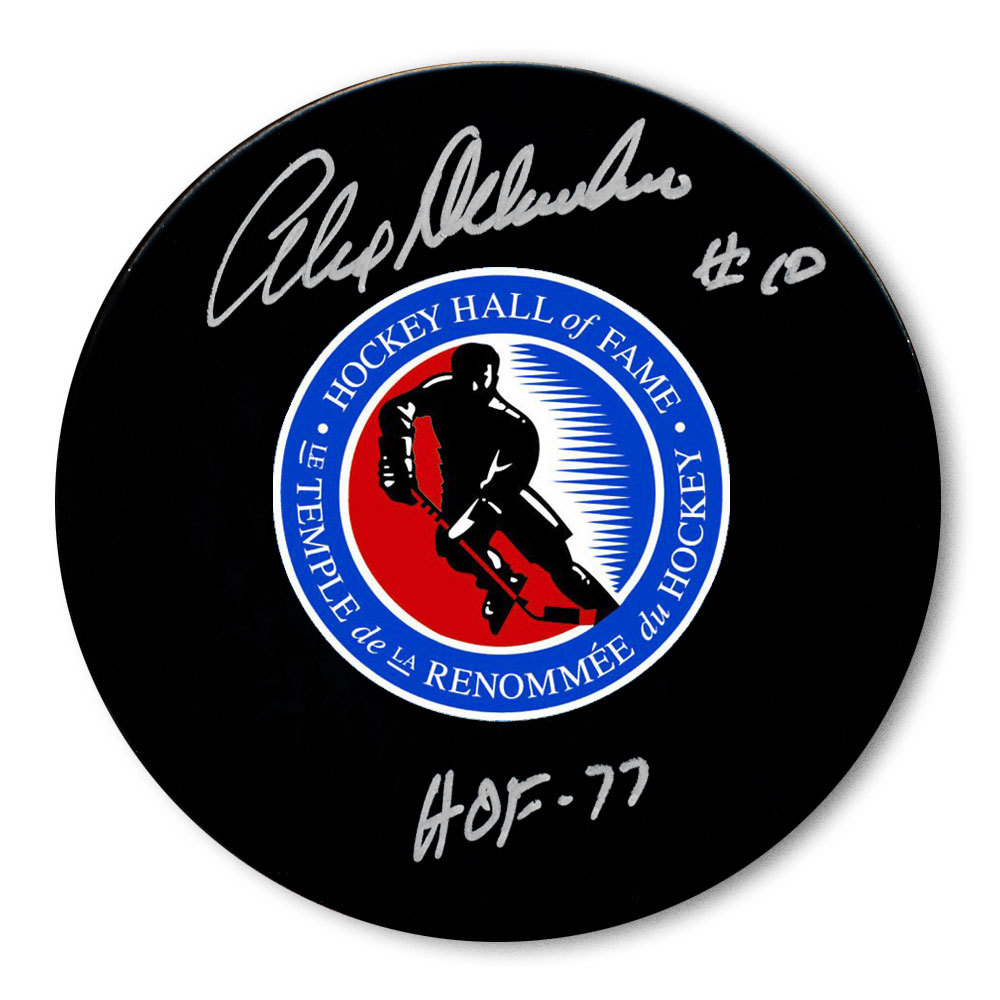 Alex Delvecchio Hockey Hall of Fame HOF Autographed Puck