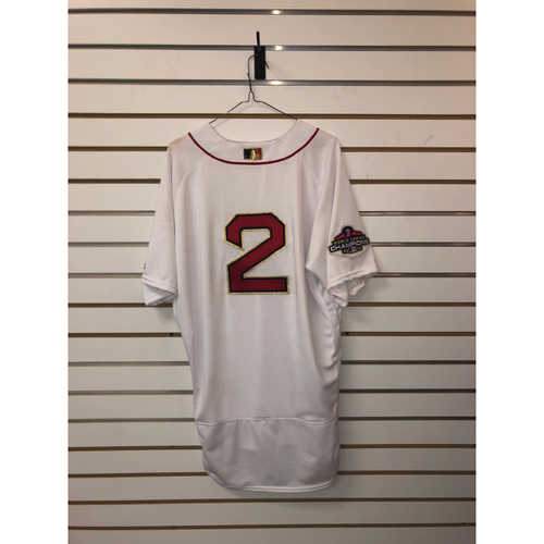Photo of Xander Bogaerts Game-Used April 9, 2019 Home Gold Trimmed Jersey