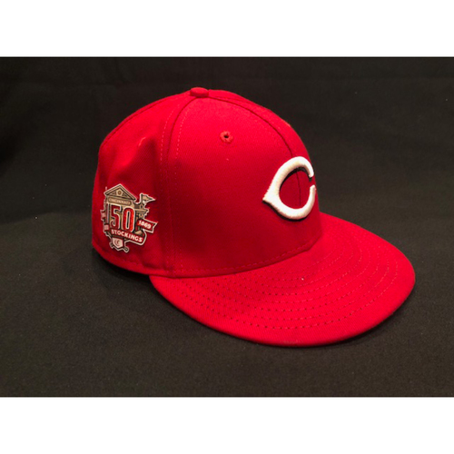 "Photo of Derek Dietrich -- Game-Used ""2019 Opening Day"" Cap -- Dietrich Becomes 28th Red to Hit 3 Home Runs in a Game -- Worn on March 28 and May 28, 2019"