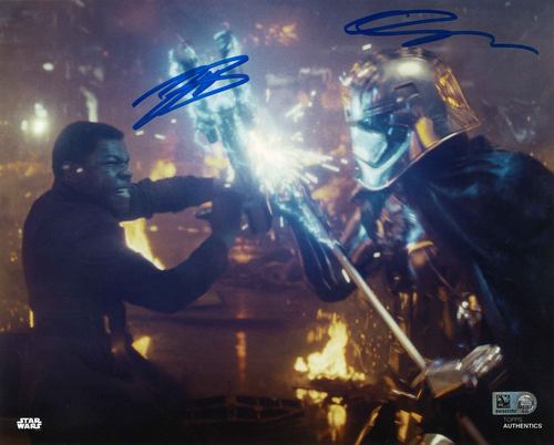 Gwendoline Christie and John Boyega As Captain Phasma and Finn 8X10 AUTOGRAPHED IN 'Blue' INK PHOTO