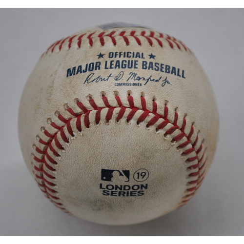 Photo of Game-Used Baseball - 2019 London Series - 6/29/2019 - New York Yankees vs. Boston Red Sox - Bot 6 - Pitcher: Nestor Cortes, Batter: Rafael Devers - Groundout to 3B, Batter: Xander Bogaerts - Ball