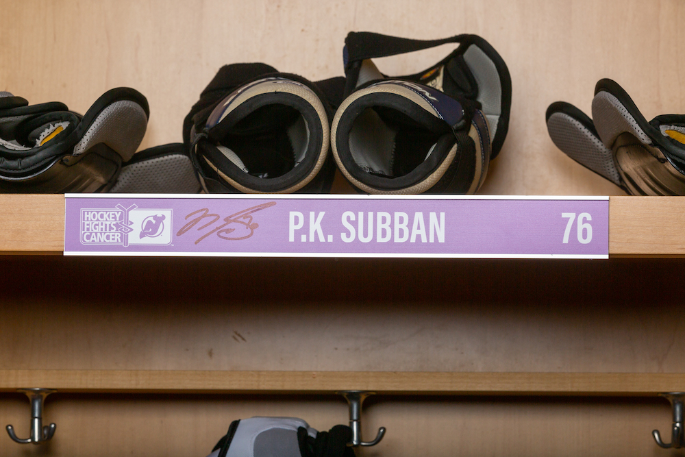 Subban 2019 Hockey Fights Cancer Locker Room Nameplate