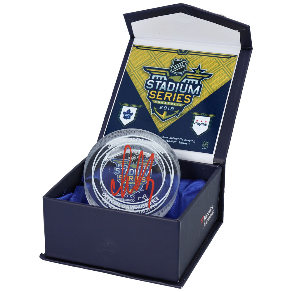 Alex Ovechkin Washington Capitals Autographed 2018 Stadium Series Crystal Puck - Filled with Ice from the 2018 Stadium Series