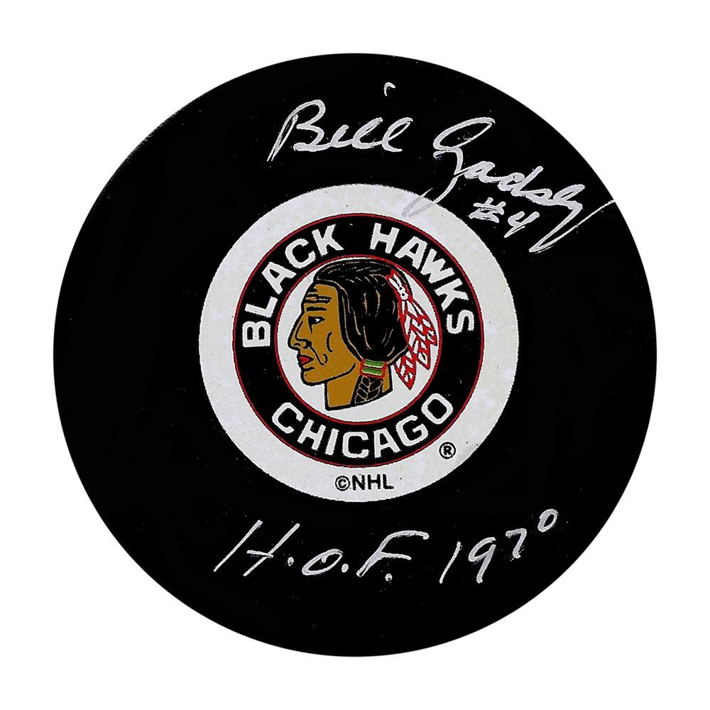 Bill Gadsby Autographed Chicago Blackhawks Vintage Puck w/HOF 1970 Inscription