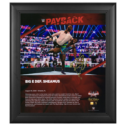 Photo of Big E SIGNED Payback 2020 WrestleMania Gold Edition Plaque (#1 of 1)