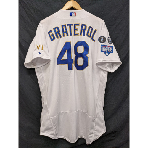 Photo of Brusdar Graterol Team-Issued Gold Trim Re-Opening Day Jersey - 6/15/21