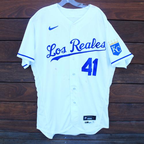 Photo of Game-Used Los Reales Jersey: Carlos Santana #41 (SEA@KC 9/17/21) - Size 46