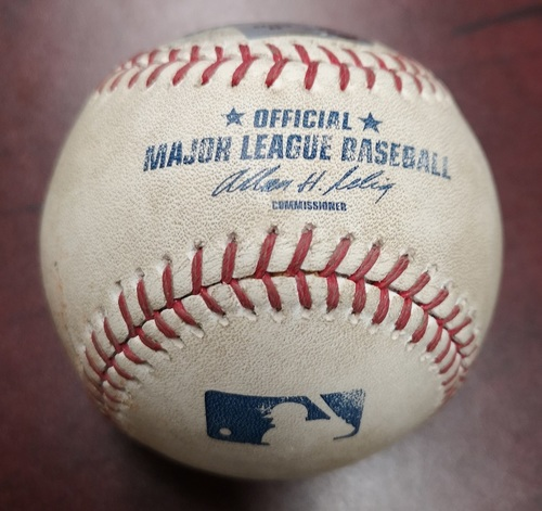 Photo of Authenticated Game Used Baseball - Foul Ball by Derek Jeter against Brandon Lyon (August 11, 2012 vs New York Yankees). Top 9.